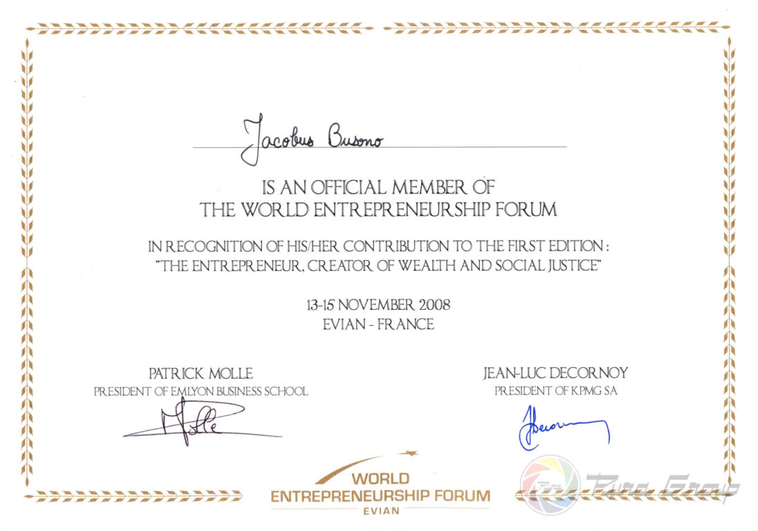 THE WORLD ENTREPRENEURSHIP FORUM MEMBER 2008