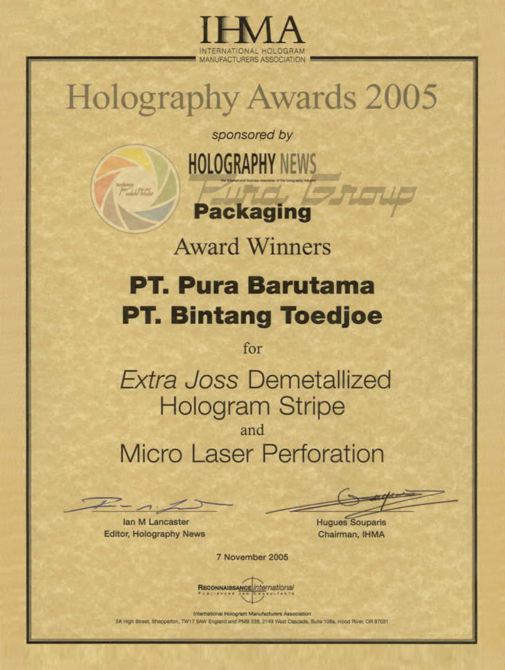 IHMA AWARDS 2005 FOR HOLOGRAM PACKAGING