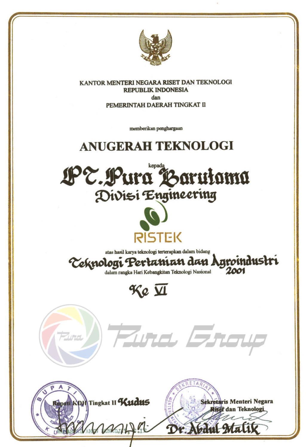 RESEARCH AND TECHNOLOGY MINISTRY AWARD 2001