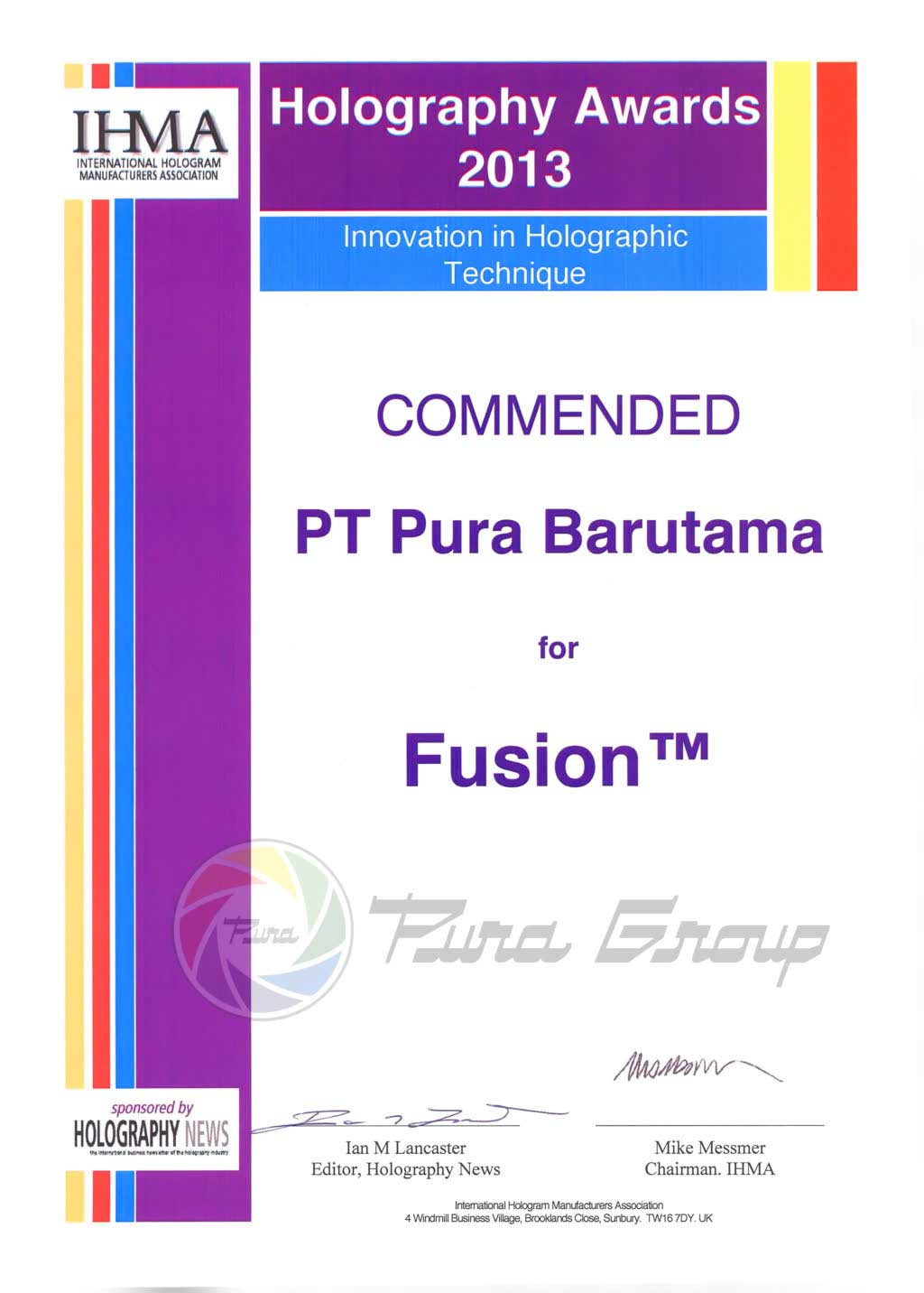 HOLOGRAPHY AWARDS 2013 (COMMENDED) UNTUK HOLOGRAM FUSION