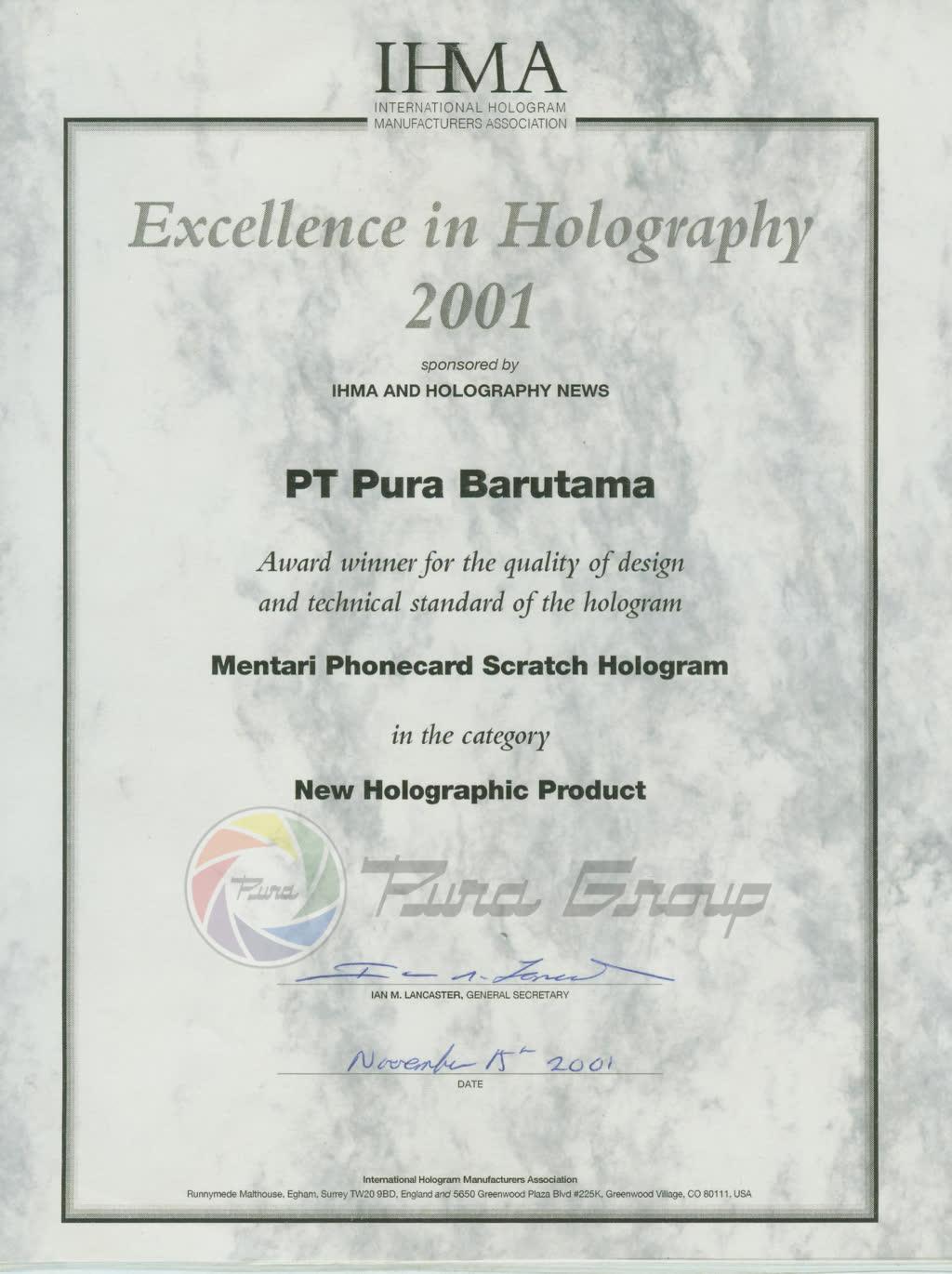 IHMA AWARD 2001FOR NEW HOLOGRAPHIC PRODUCT